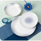 Set farfurii SHF8790, portelan, alb + albastru, 18 piese