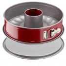 Tava rotunda pentru copt, Tefal Delibake Combi Springform, otel carbon, cu con, margine detasabila, rosu / gri, D 27 cm