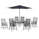 Set masa cu 6 scaune si umbrela pentru gradina Capri din metal cu textilen