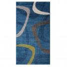 Covor living / dormitor McThree Casin 4999 8V03 polipropilena frize dreptunghiular albastru 60 x 110 cm