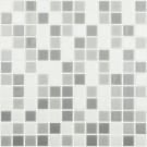 Mozaic din sticla 100/108/109, mix alb + gri, interior / exterior, 31.7 x 31.7 cm