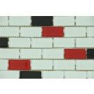 Mozaic din sticla 2550-03 mix negru+alb+rosu 30x30 cm