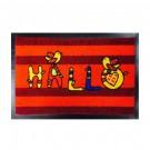 Covor intrare exterior Hallo, fir nylon cu suport  PVC, rosu, dreptunghiular, 60 x 40 cm