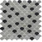 Mozaic din sticla 6000/6105, mix alb + gri, interior / exterior, 31.7 x 32.4 cm