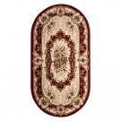 Covor living / dormitor Carpeta Atlas 35482-41335 polipropilena heat-set oval bordo 80 x 150 cm