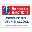 Placa - Nu vindem minorilor alcool si tutun