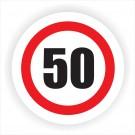 Indicator semnalizare limitare viteza 50 Creative sign, autocolant, forma rotunda, diametru 12 cm
