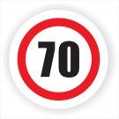 Indicator semnalizare limitare viteza 70 Creative sign, autocolant, forma rotunda, diametru 12 cm