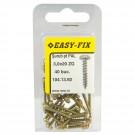 Surub pentru PAL / lemn, cu cap bombat, amprenta cruce, Easy-Fix, otel, zincat galben, 3 x 20 mm, set 40 bucati