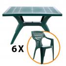 Set masa Dol + 6 scaune Adrian, pentru gradina, verde, din plastic