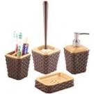 Set accesorii pentru baie, Violetta, rattan, 4 piese