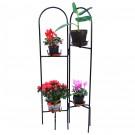 Suport ghiveci flori Duo, pliant, metal, negru, 60 x 30 x 130 cm