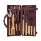 Set 12 accesorii pentru gratar Landmann, otel, maner lemn, 42 cm