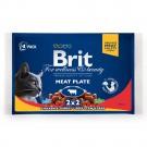 Hrana umeda pentru pisici, Brit, pui + curcan si vita cu mazare, 4 x 100 g