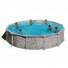 Piscina cu cadru metalic Manufacturas Gre 350P, rotunda, decoratiune piatra, cu pompa de filtrare, 350 x 120 cm