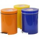 Cos gunoi din polipropilena, forma cilindrica, diverse culori, cu pedala si capac batant, 5L