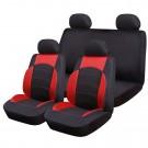 Huse auto pentru scaun, Ro Group, Sport Line, negru+rosu, set 9 bucati