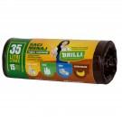 Saci menajeri pentru colectare selectiva super rezistenti maro Brilli, 35L, 15 buc
