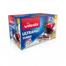 Mop microfibra Vileda Easy Wring Turbo Ultramat + coada telescopica + galeata cu separator + pedala cu sistem de stoarcere, H = 130 cm