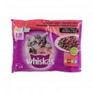 Harana umeda pentru pisici, Whiskas junior, selectii de carne, 4 x 100 g
