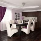 Set masa fixa Torino cu 6 scaune tapitate Munchen, bucatarie, negru + crem