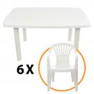 Set masa Faro + 6 scaune Altea, pentru gradina, alb, din plastic