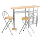 Set masa fixa cu 2 scaune XJH-0061B, bucatarie, fag