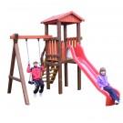 Tobogan copii, cu leagan si scara, CJ.12.01, structura lemn, 420 x 270 x 300 cm