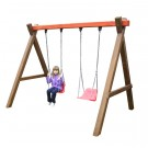 Leagan copii, cu 2  scaune, HL.01.02, structura lemn, 280 x 184 x 210 cm