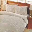 Lenjerie de pat, 2 persoane, Altinbasak Ranforce Natura, bumbac 100%, 4 piese, crem