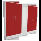 Dulap dormitor Stefan alb + rosu, cu 5 usi, 2 sertare si oglinda, 255.6 x 55 x 225 cm 4C