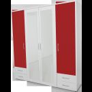 Dulap dormitor Stefan alb + rosu, cu 4 usi, 4 sertare si oglinda, 205.6 x 55 x 225 cm 4C