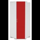 Dulap dormitor Stefan pe colt, alb + rosu, 89.6 x 55 x 225 cm 2C