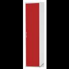 Dulap dormitor Stefan alb + rosu, cu o usa cu polite, 55.6 x 55 x 225 cm 1C