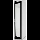 Dulap dormitor Stefan alb + negru, cu o usa cu bara si oglinda, 55.6 x 55 x 225 cm 1C