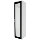 Dulap dormitor Stefan alb + negru, cu o usa, polite si oglinda, 55.6 x 55 x 225 cm 1C