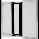 Dulap dormitor Stefan alb + negru, cu 3 usi glisante si oglinda, 250 x 55 x 225 cm 3C