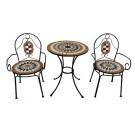 Set masa cu 2 scaune pentru gradina YLM5029 din metal cu mozaic
