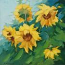 Tablou decor Canbox CB6060/00015, inramat, panza bumbac + rama MDF, stil floral, 60 x 60 cm