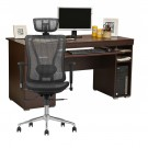 Birou calculator Alfa, wenge + scaun birou directorial LA-874MH-1, negru