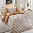 Lenjerie de pat, 2 persoane, Ranforce Energy, bumbac 100%, 4 piese, alb + maro