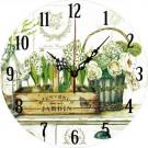 Ceas perete 28012, analog, rotund, din lemn, diametru 28 cm