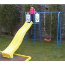 Tobogan copii, cu leagan si scara, structura metalica, 320 x 230 x 226 cm