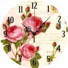 Ceas perete 34002, analog, rotund, din lemn, diametru 34 cm