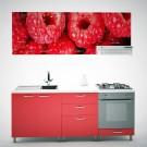 Bucatarie Print Venus V8, rosu + print zmeura, 200 cm, 9C