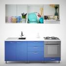 Bucatarie Print Venus V17, albastru + print vesela, 200 cm, 9C