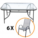 Set masa, metal + sticla, cu 6 scaune, metal + textilen, pentru gradina