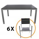 Set masa cu 6 scaune Kansas, pentru gradina, metal + plastic