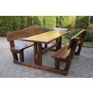 Set masa cu 2 banci din lemn pentru gradina