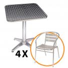 Set masa cu 4 scaune Bistro, pentru gradina, din aluminiu